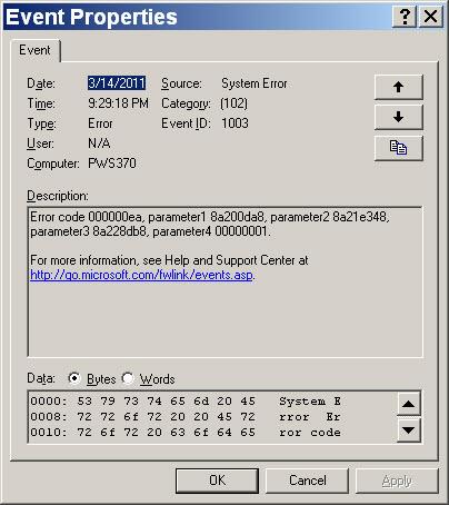 system log error message #2
