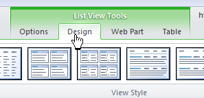 "Open ""design tab"""