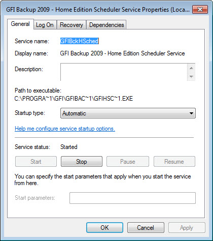 GFI Backup 2009 Home Edition Scheduler