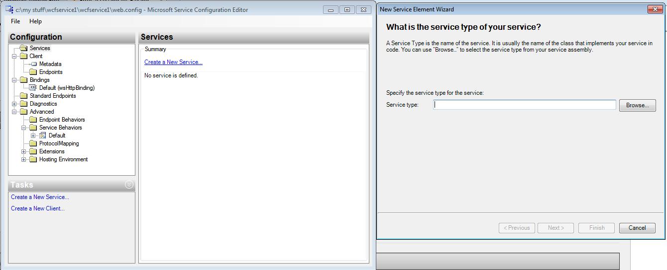 Error accessing WCF using WcfTestClient when hosting on IIS