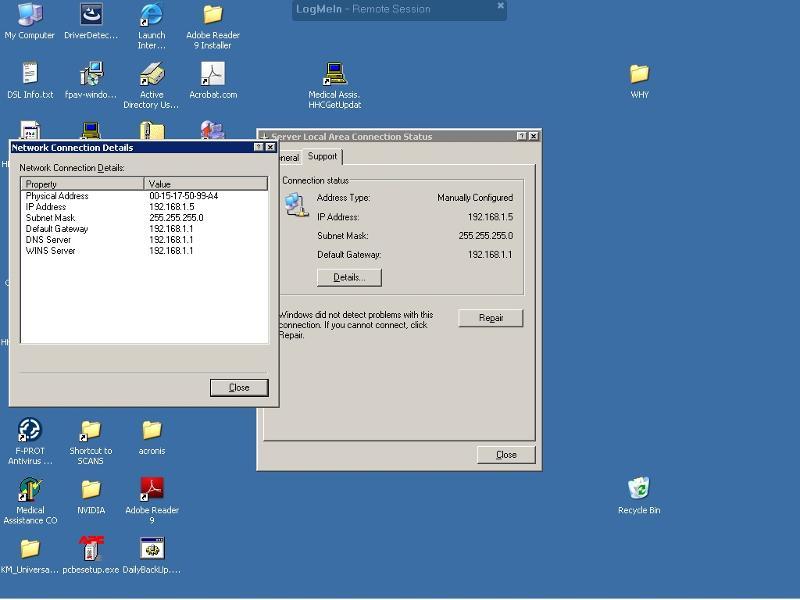 network settings on server