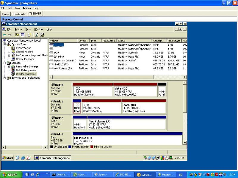 Screenshot of Disk Management screen