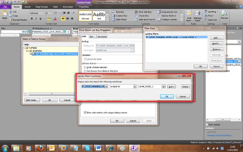 InfoPath filter properties