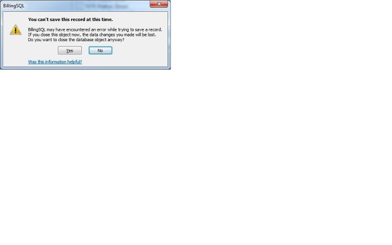 Access error dialog box