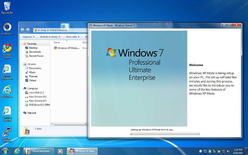 After launching XP Mode - setup begins - adds XP Mode to list of Virtual PC VM's.