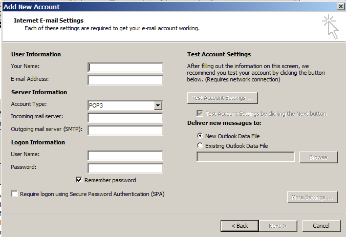 Outlook settings