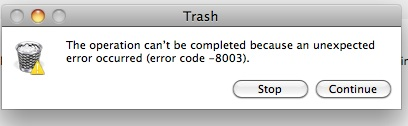 Error Message when attempt Empty Trash