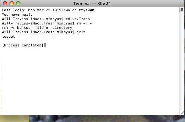 Terminal commands completed, exit.