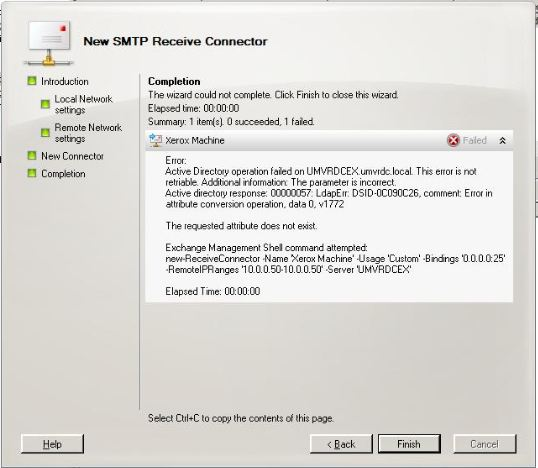 Error adding custom receive connector
