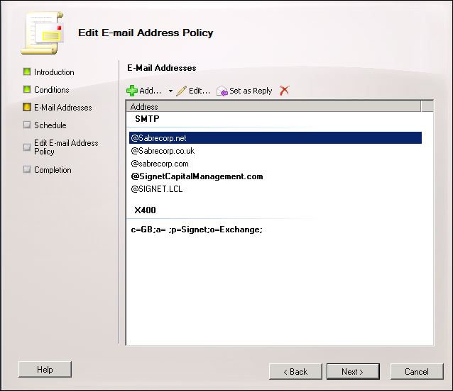 Editing E-mail Address Policy