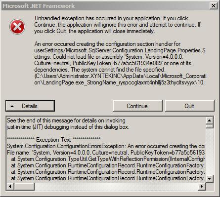 .net Framework Error