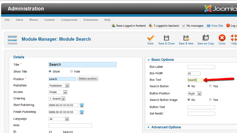 J1.6 Search module parameters