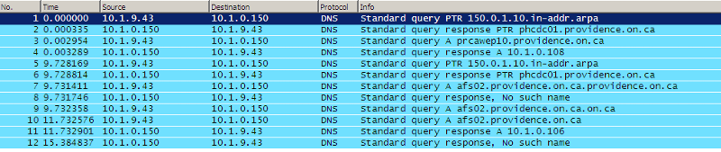 Screenshot of wireshark - internal name