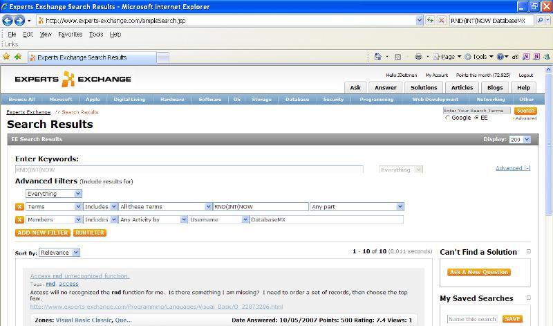search screen shot