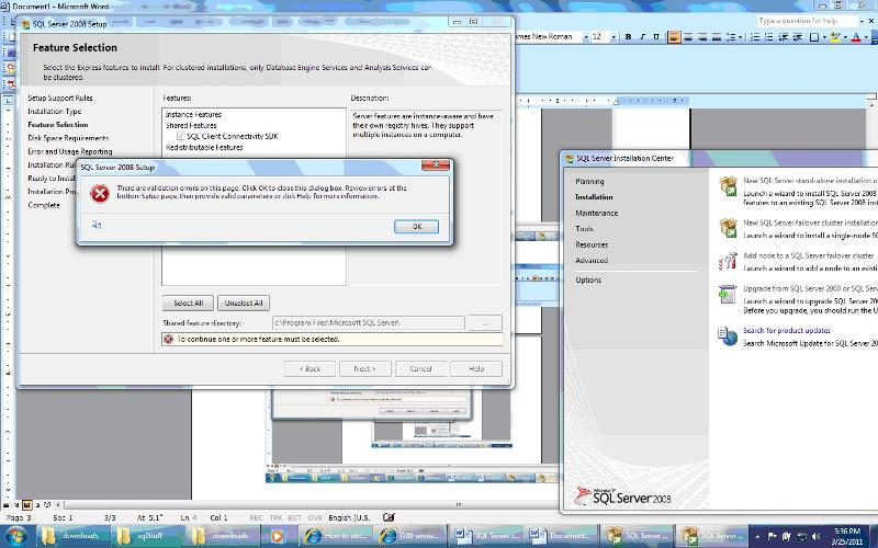 Error message during SSMSE install