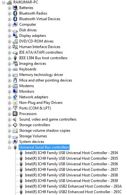 Device Manager of Vista