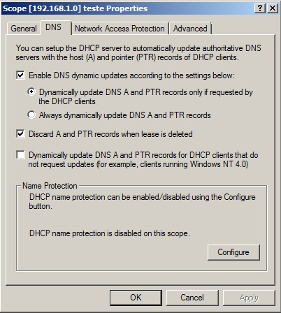 DNS Tab from DHCP Management Console