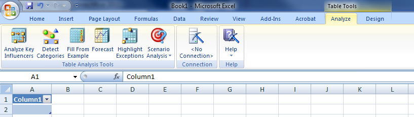 SOLUTION] Table Analysis tool missing in Excel