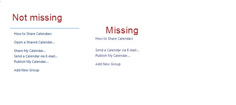 Outlook 2007 - Open Shared link missing