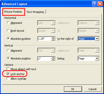 Anchoring in Word XP