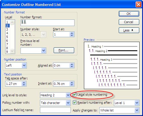 outline numbering level 2