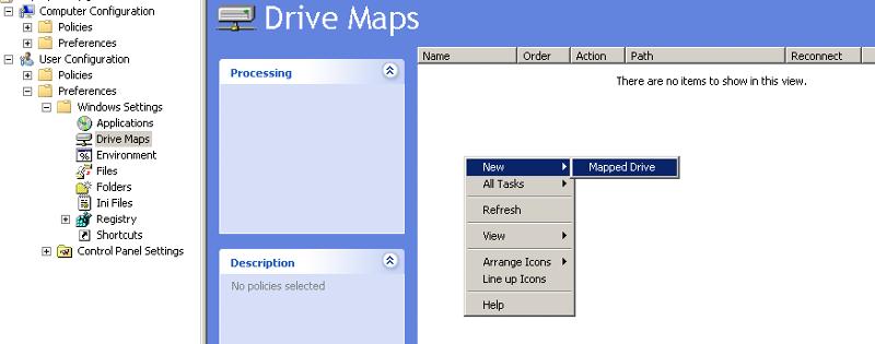 creating a new drive map