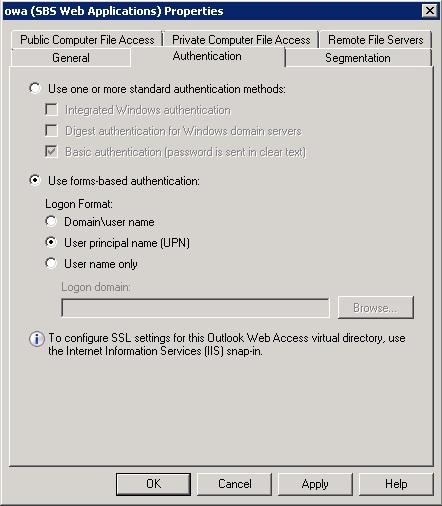 OWA authentication