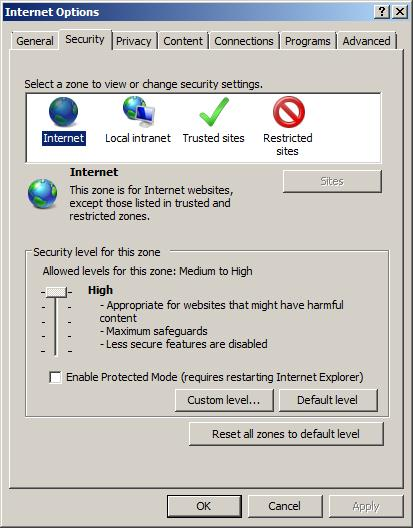 IE 8, GPO error - slide bar grayed out.