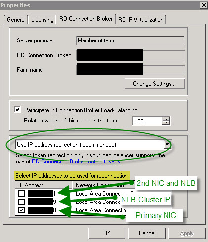 RDSH Connection Broker Properties Window