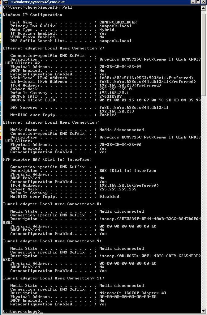 Windows 2008 SBS - IP Config