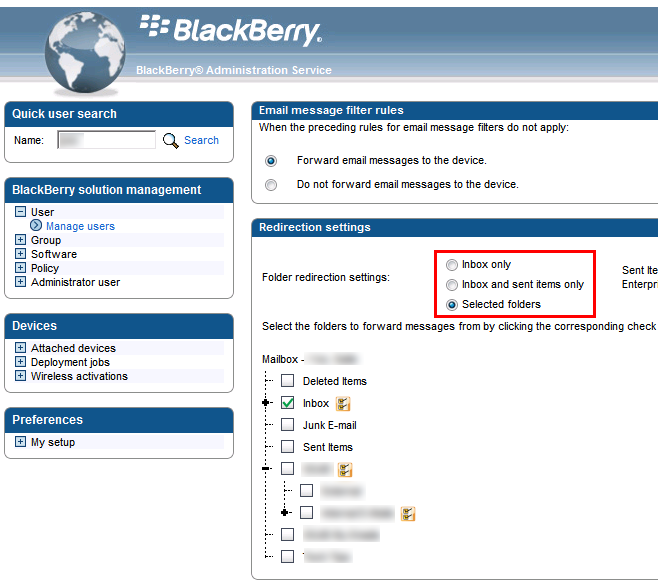 Blackberry administration for selecting non-default folders