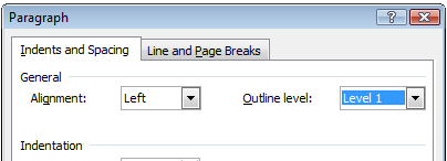 Paragraph Format dialog with Outline level