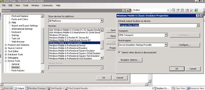 Device Options - Emulator Images