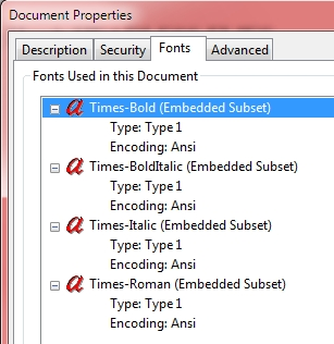 Font Info Dialog in Adobe Reader