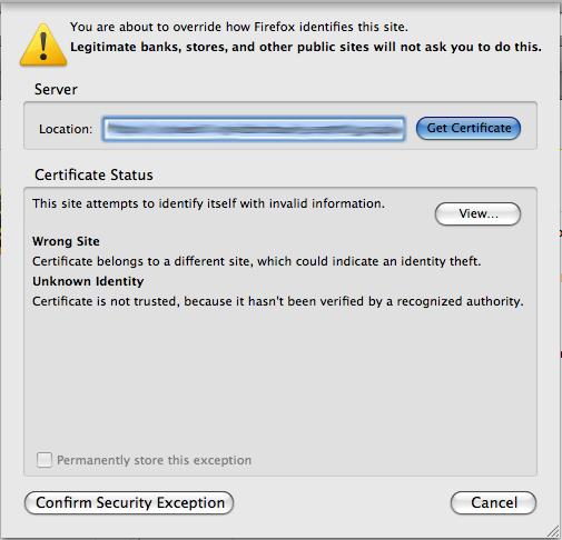 Invalid certificate prompt in firefox