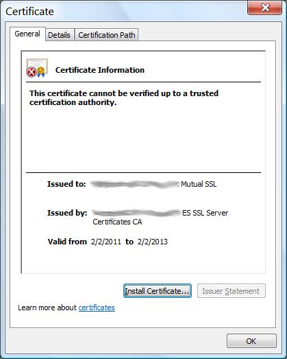 Invalid certificate prompt in IE.