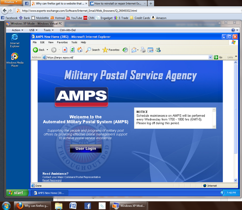 Screenshot of https://amps.mpsa.mil running on an XP Virtual Machine