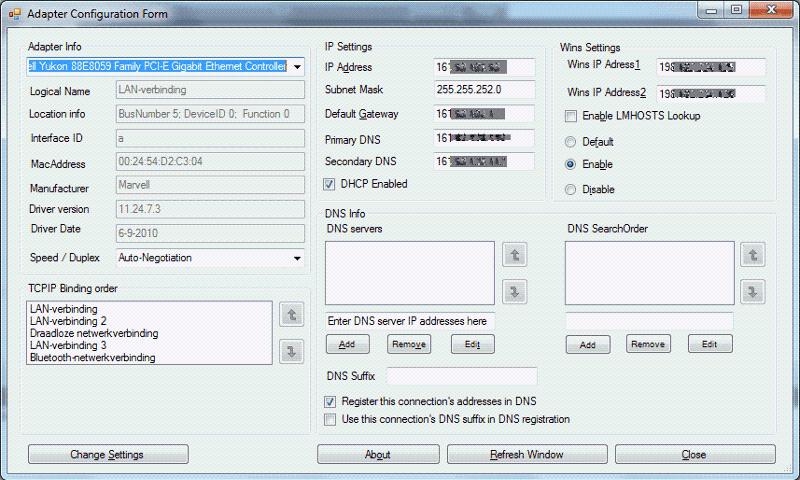 AdapterConfigurator form