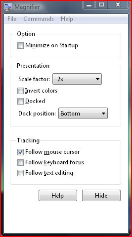 Vista Magnifier Setup window