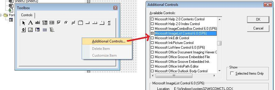 Adding Faceid's in imagelist control excel VBA