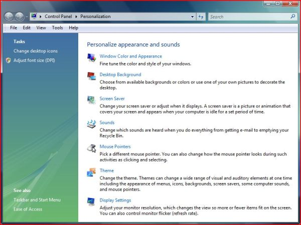 Personalization of Vista Control Panel