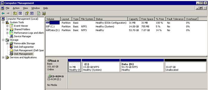 Disk Manager with the unallocated space