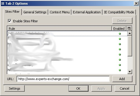 ie tab 2 config panel