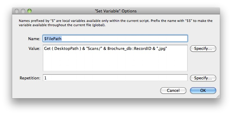 Set Variable $FilePath