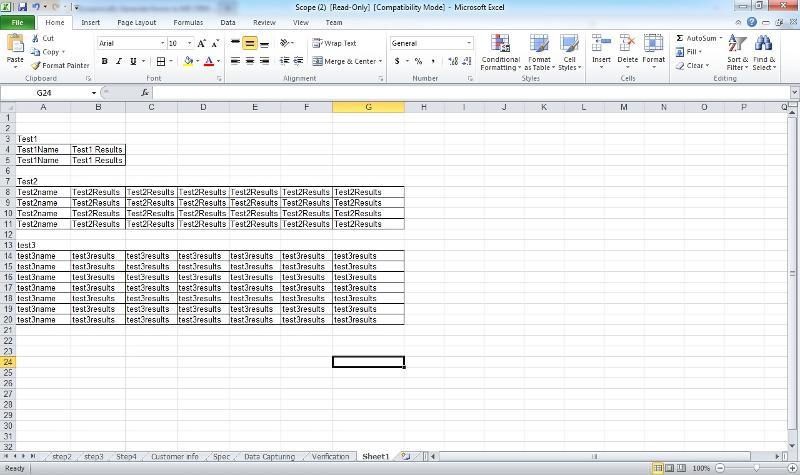 Eg of output form