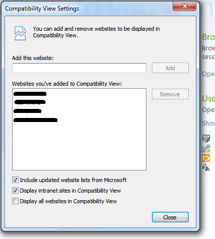 Compatibility View Settings view