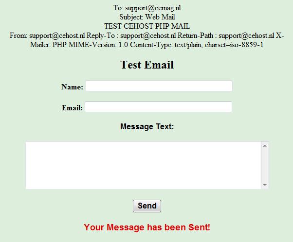 MailForm Output