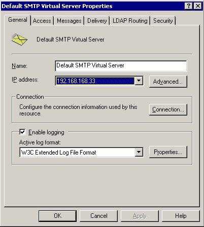 SMTP Properties Screen Capture