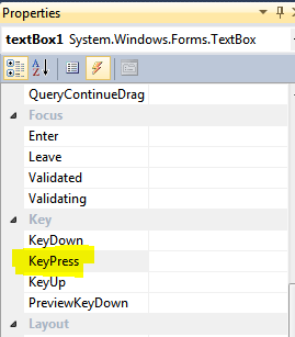 textBox1 properties from VS designer.