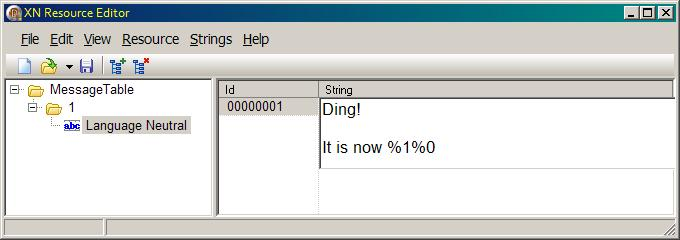 Editing the EventMessageFile format string